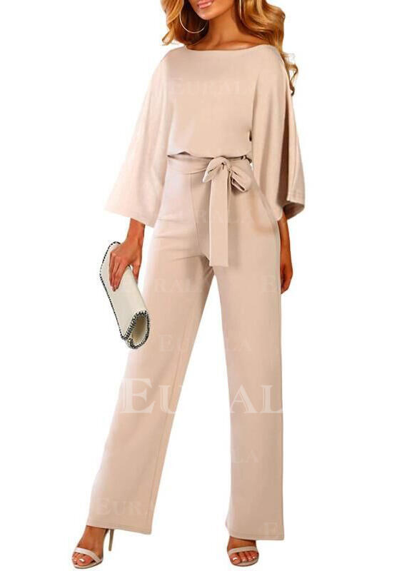 Solid 3/4 Sleeves Little Black/Casual/Elegant Dresses