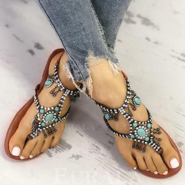 Women's PU Flat Heel Sandals With Rhinestone shoes