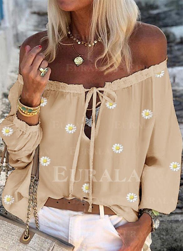 Распечатать Цветочный Зашнуровать С плеча Длинные рукова Повседневная Блузы