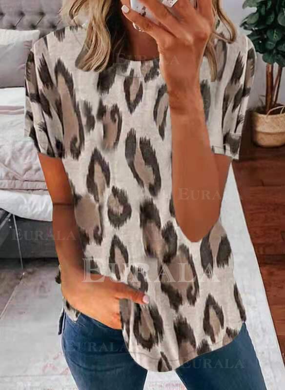 леопард Шею С коротким рукавом Футболки