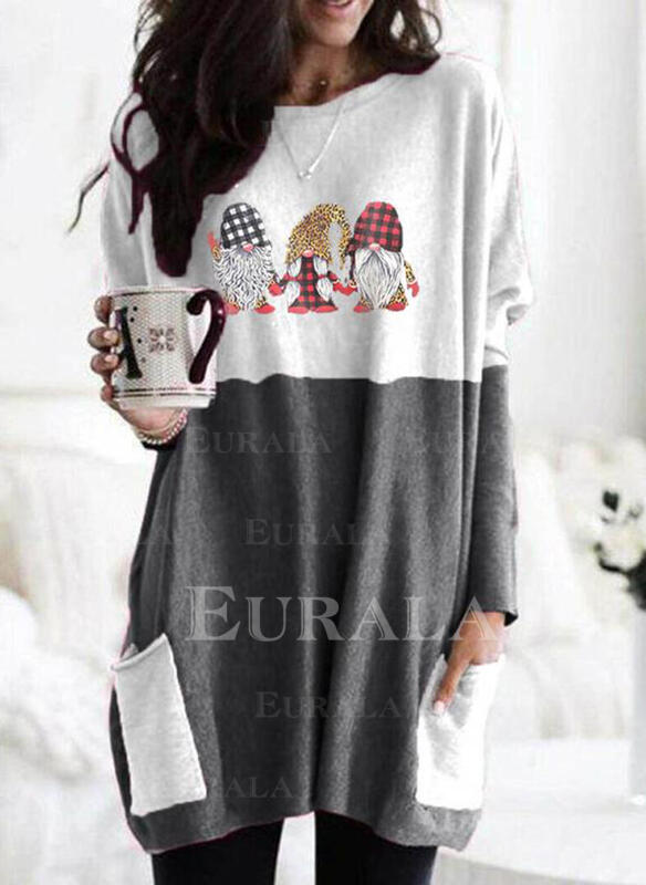 Print Grid Leopard Pockets Round Neck Long Sleeves Christmas Sweatshirt