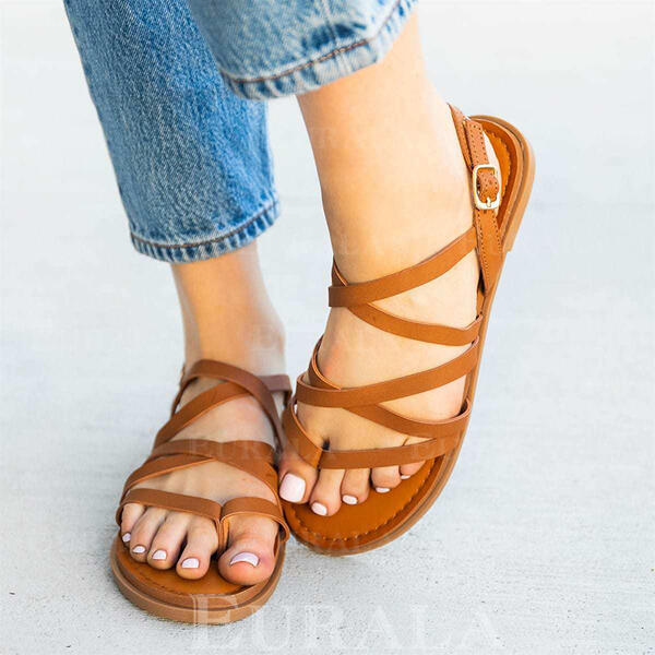 Women's PU Flat Heel Sandals Flats With Hollow-out Solid Color shoes