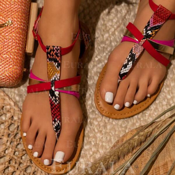 Dla kobiet PU Płaski Obcas Sandały Plaskie Otwarty Nosek Buta Japonki Z Klamra Łączona obuwie