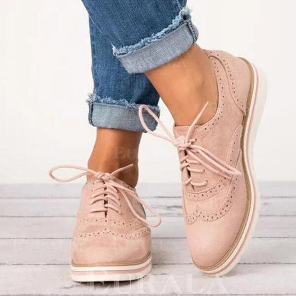 PU Fară Toc Balerini cu Lace-up pantofi