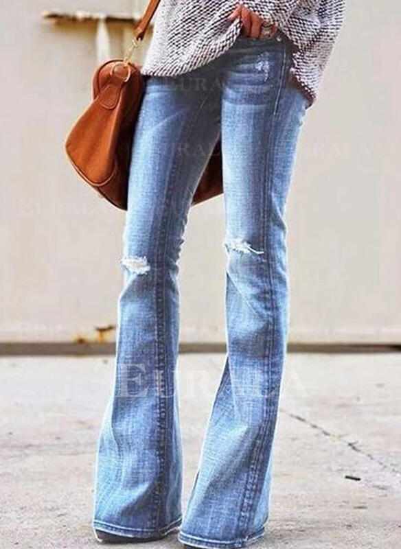 Plus Size Ripped Sexy Solid Denim & Jeans