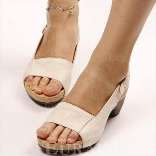 Mulheres PU Salto robusto Sandálias Peep toe Sapatos abertos Chinelos com Fivela sapatos
