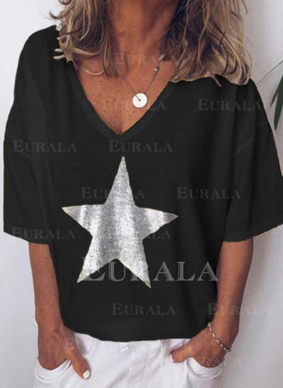 Trykk V-hals 1/2-ermer Casual T-skjorter