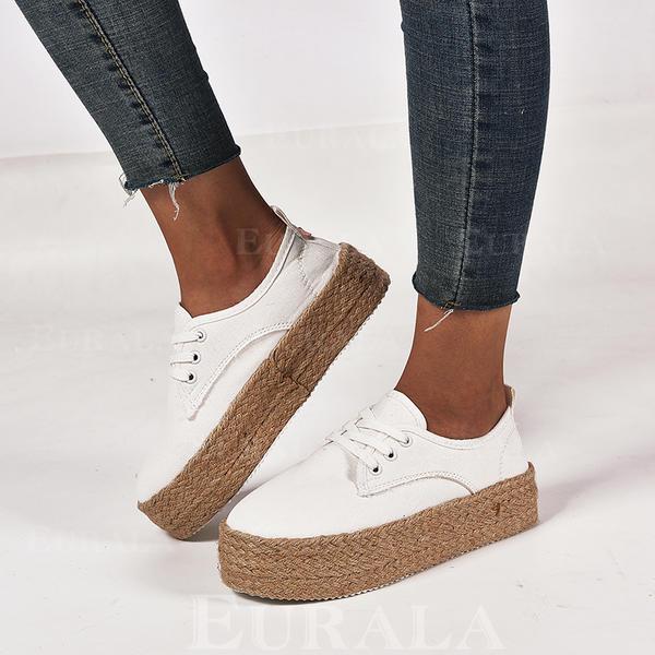Dla kobiet Płótno Płaski Obcas Round Toe Z Sznurowanie obuwie
