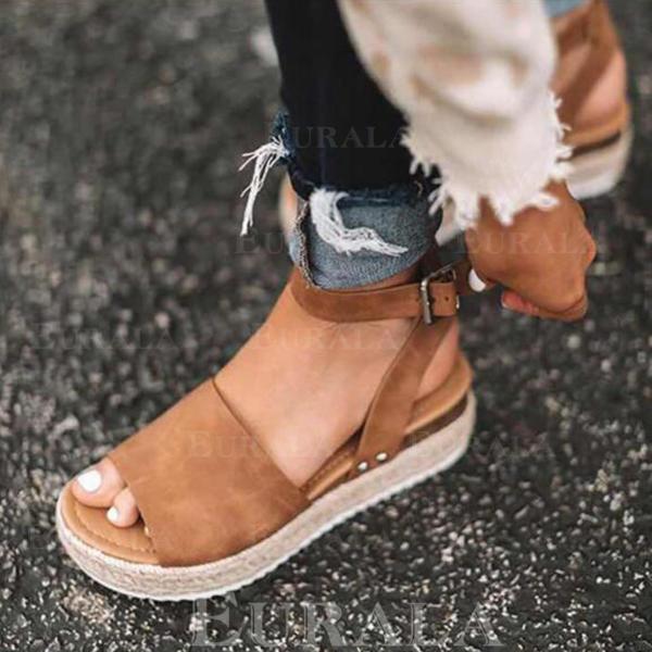 Skóra ekologiczna Płaski Obcas Sandały Plaskie Platforma Otwarty Nosek Buta Z Pozostałe obuwie