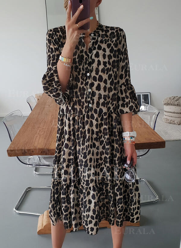 Leopard 3/4 Sleeves Shift Tunic Casual/Vacation Midi Dresses
