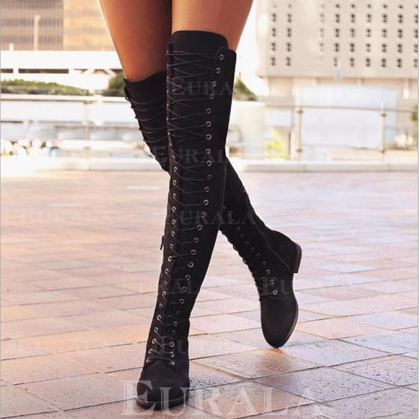 De mujer PU Tacón plano Planos Cerrados Botas Botas sobre la rodilla con Cordones zapatos