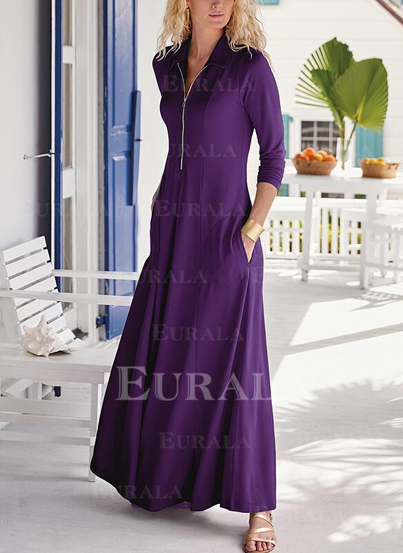 Solid Long Sleeves A-line Skater Little Black/Elegant Maxi Dresses