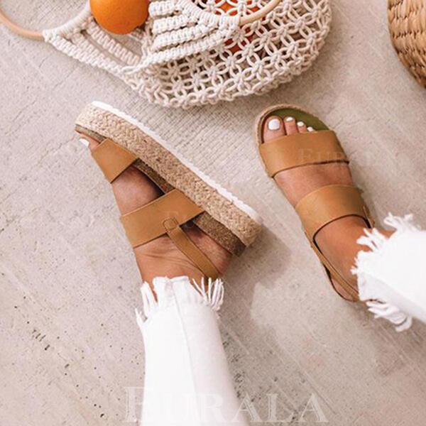 PU Düz topuk Sandalet Flats platform Peep Toe Ile Diğerleri ayakkabı