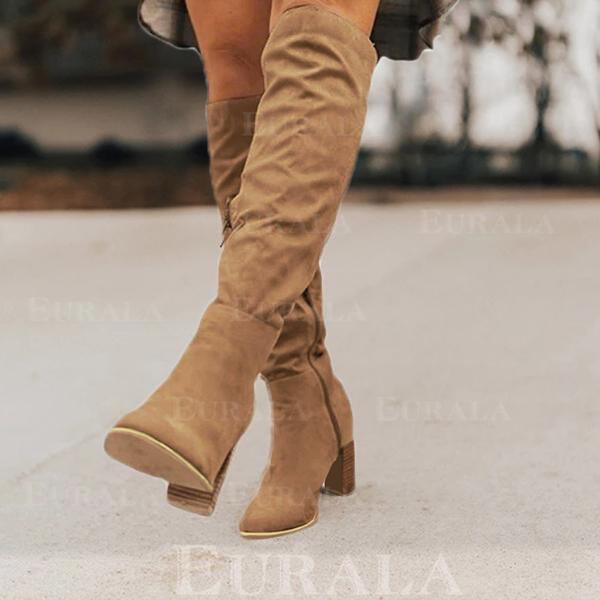 Kvinnor Mocka Stilettklack Stövlar med Zipper Solid färg skor