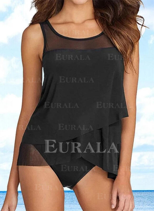 Solid Color Strap Round Neck Fresh Tankinis Swimsuits