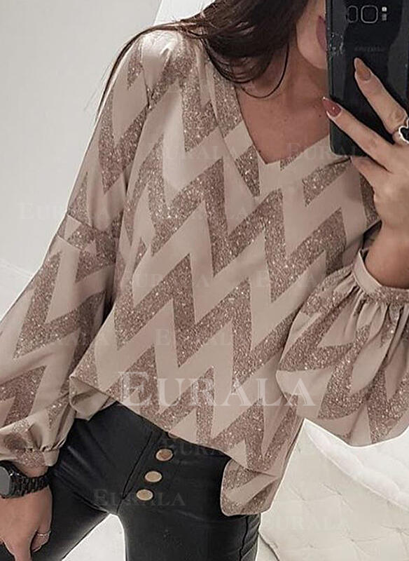 Sequins V-Neck Lantern Sleeve Long Sleeves Casual Blouses