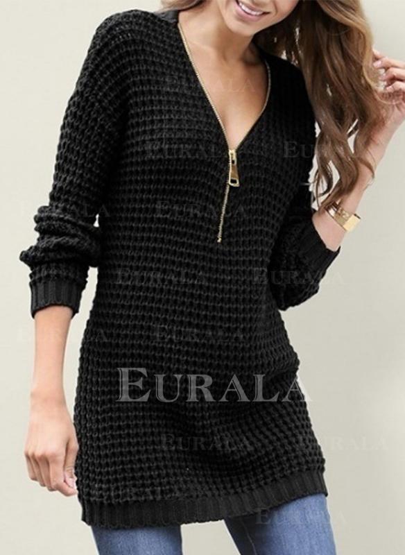 Jednolity Wafel Dekolt w kształcie litery V Casual Swetry