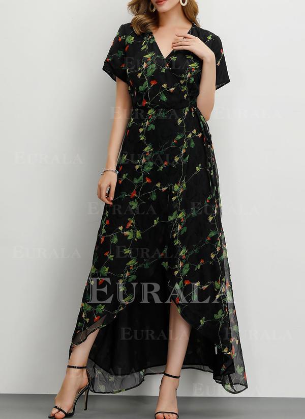 Imprimeu/Floral Mâneci Scurte Tip A-line Casual/Petrecere/Elegant Maxi Elbiseler