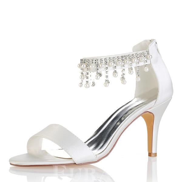 Dla kobiet Satyna Jedwabna Obcas Stiletto Otwarty Nosek Buta Czólenka Sandały Z Frędzle