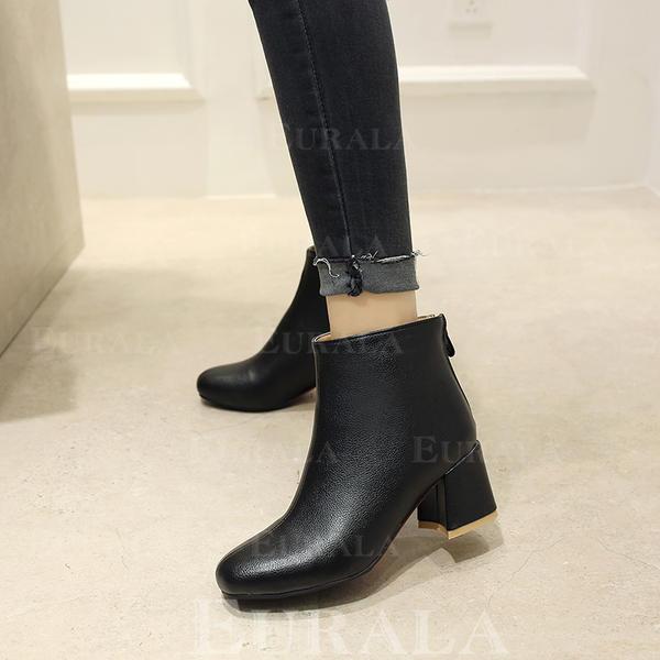 Kvinner PU Stor Hæl Pumps Støvler Ankelstøvler med Glidelås sko
