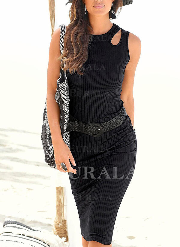 Solid Sleeveless Bodycon Knee Length Little Black/Casual/Vacation Dresses