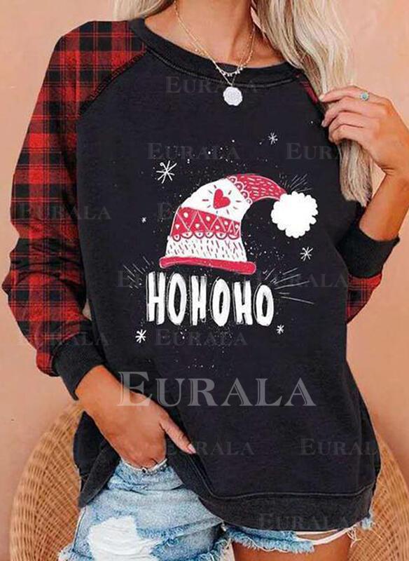 Print Grid Figure Heart Round Neck Long Sleeves Christmas Sweatshirt