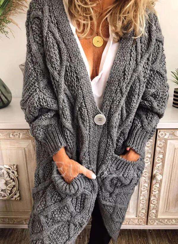 Solid Tricot Cablu Bucată tricotată Cep Decolteu în V Comod Lungi Cardigan