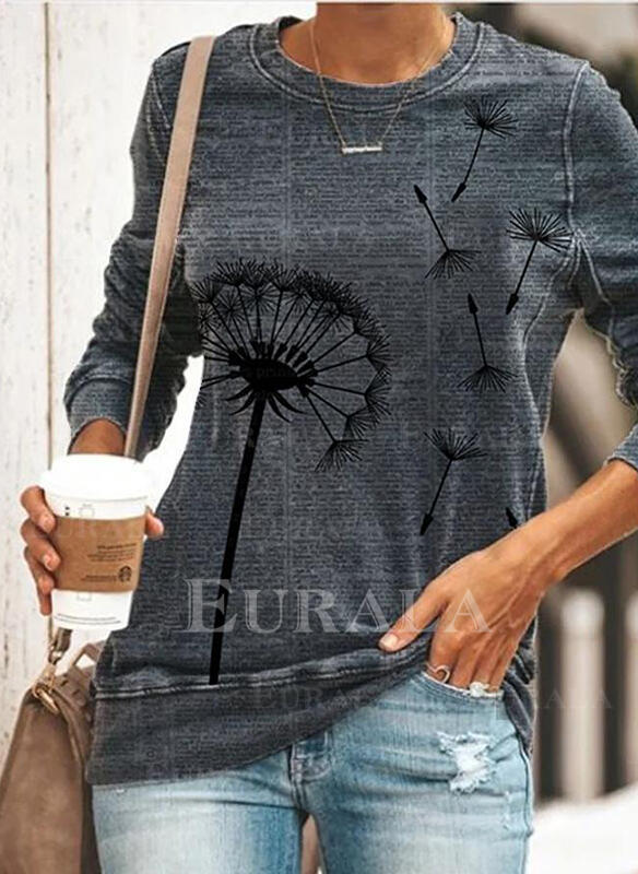Print Dandelion Round Neck Long Sleeves Sweatshirt
