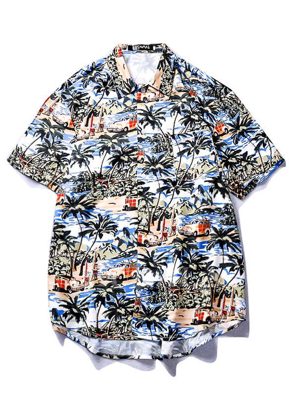 Menn Print Hawaiian Strandskjorter
