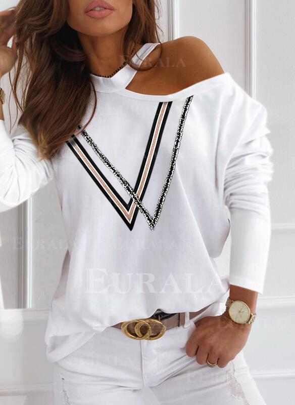 Print One-Shoulder Long Sleeves Casual Blouses