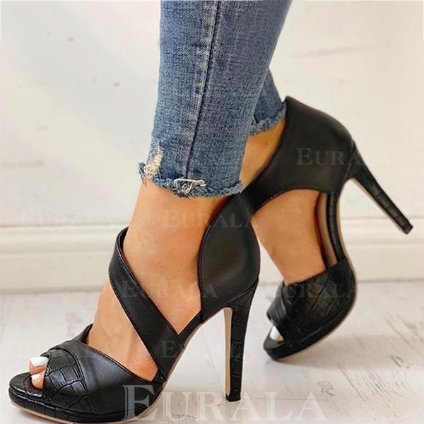 Bayanlar PU Topuklu ayakkabı Pompalar Peep Toe Ile Dantelli ayakkabı