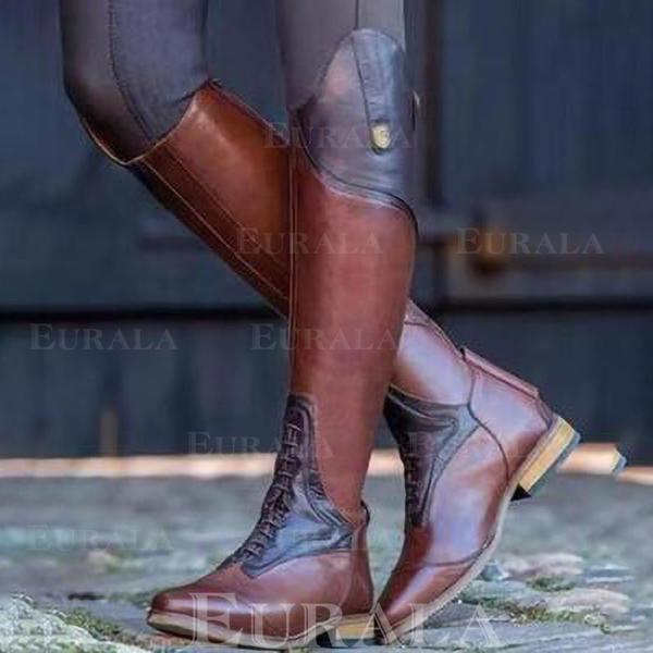 Bayanlar suni deri Düşük Topuk Diz Çizmesi Ile Bölünmüş Eklem ayakkabı