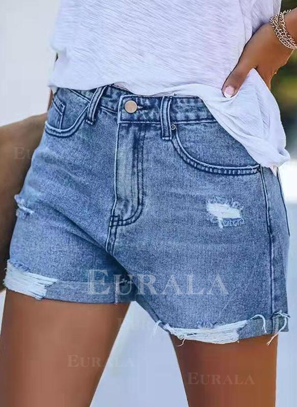 твердый Разорванный твердый джинсы Шорты