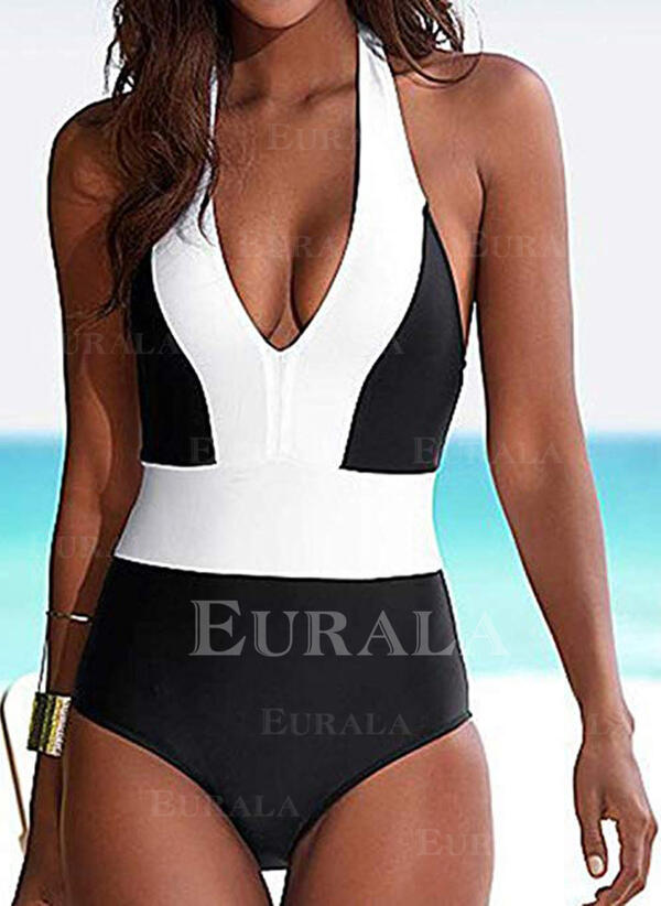 Splice color Halter V-Neck Sexy Classic One-piece Swimsuits