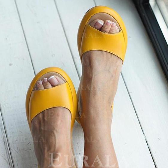 PU Sem salto Sandálias Sem salto Peep toe com Outros sapatos