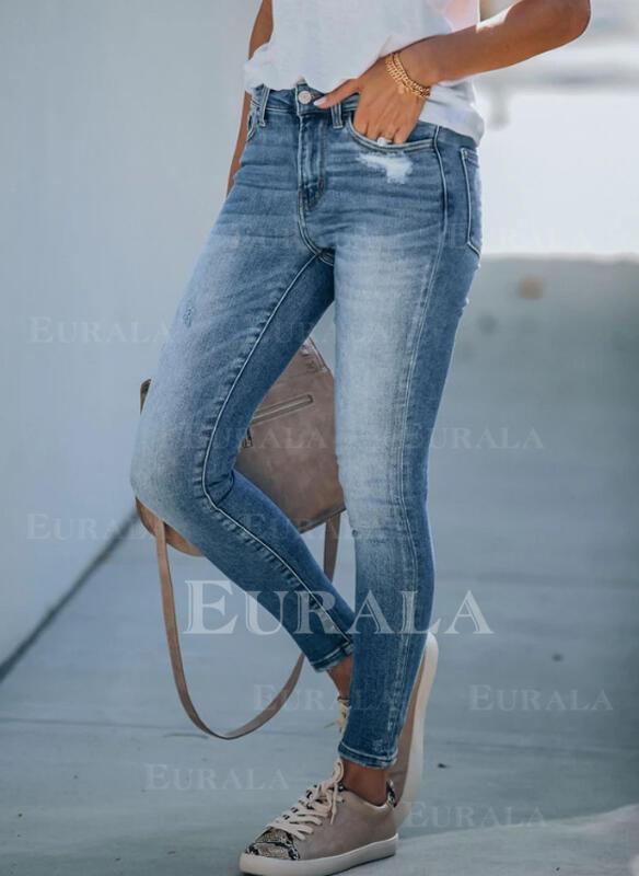 Shirred Plus Size Ripped Elegant Skinny Denim & Jeans