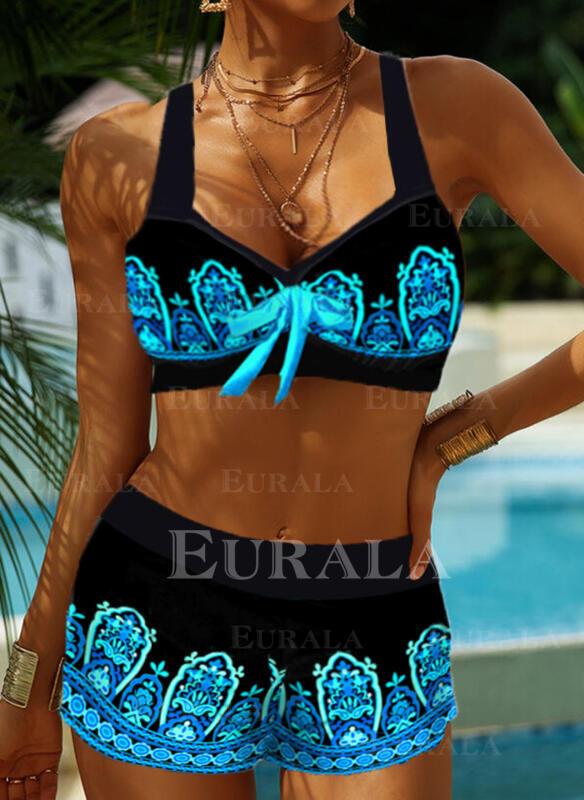 Цвет соединения Ремень V шеи Ретро Boho Bikinis купальников