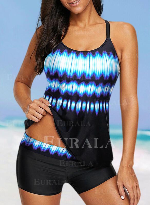 Splice color Gradient Halter Sports Plus Size Tankinis Swimsuits