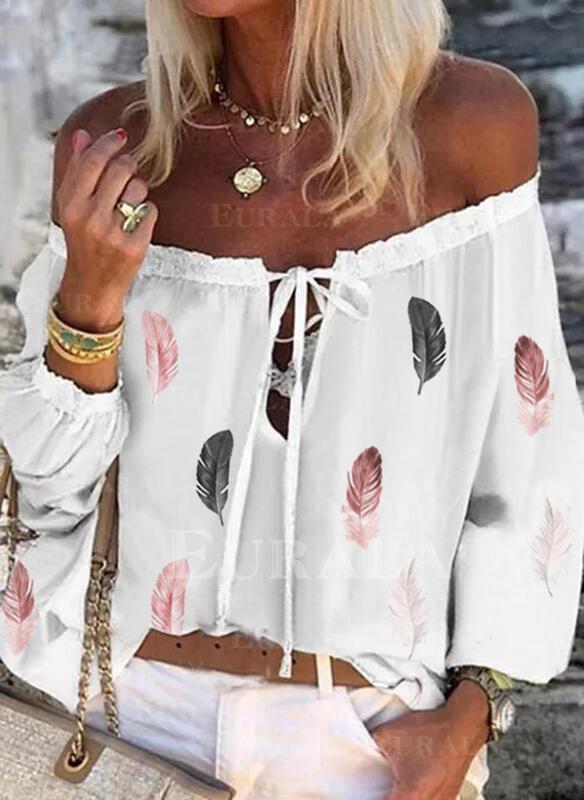 Распечатать С плеча Длинные рукова Повседневная Блузы