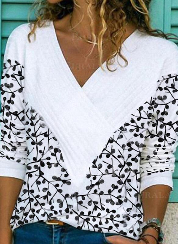 Распечатать V шеи Длинные рукова Повседневная Блузы