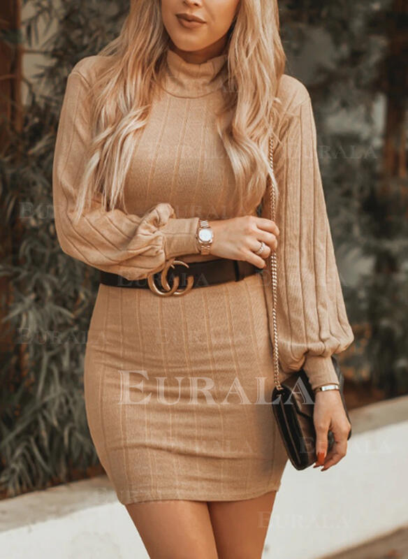 Solid Turtleneck Casual Long Tight Sweater Dress