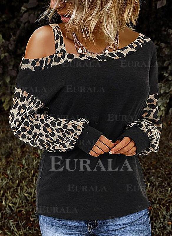 Leopardo Um Ombro Manga Comprida Casual Blusas