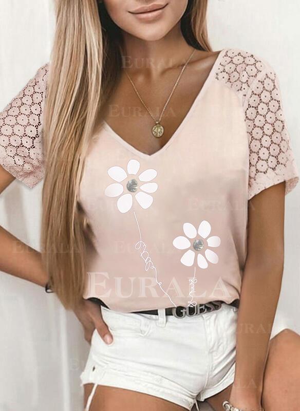 Распечатать Цветочный кружевной Letter V шеи С коротким рукавом Повседневная Блузы