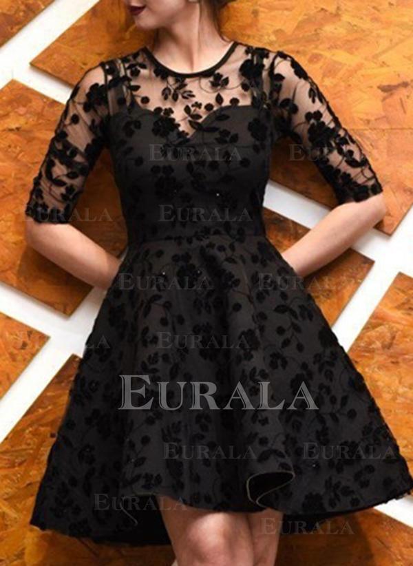 Koronka Rękawy 1/2 W kształcie litery A Długośc do kolan Mała czarna/Przyjęcie Sukienki