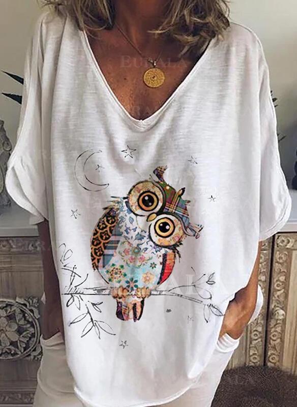 Animal Print V-Neck 3/4 Sleeves Casual T-shirts