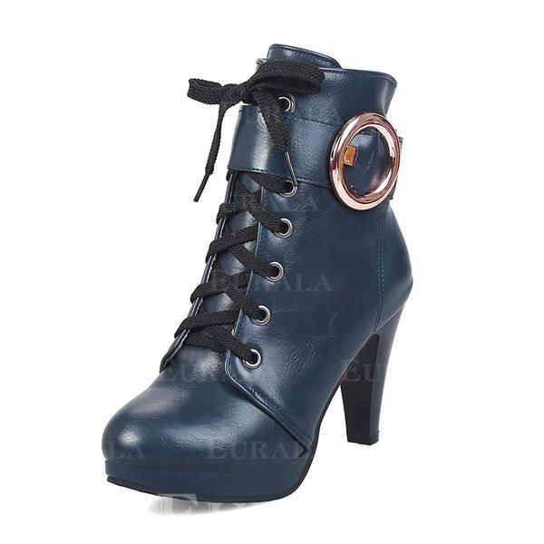De mujer Cuero Tacón stilettos Plataforma Botas Botas longitud media con Hebilla zapatos