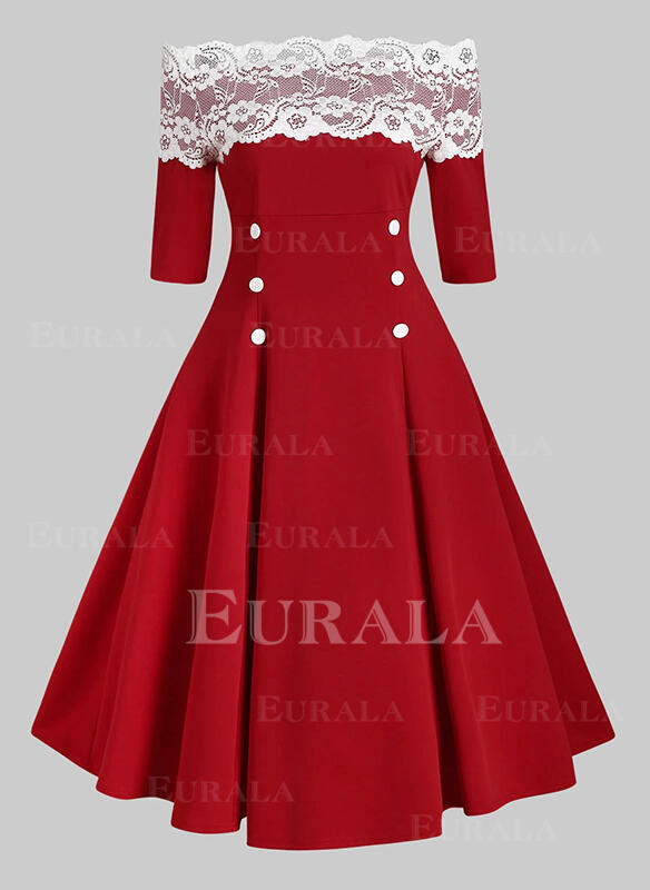 Lace 1/2 Sleeves A-line Skater Christmas/Party/Elegant Midi Dresses