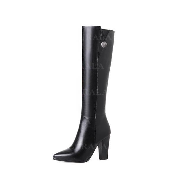 Női PU Chunky sarok Magassarkú Térdig érő csizmák -Val Cipzár Egyéb cipő