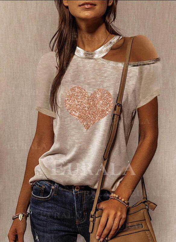 Распечатать Блестки Сердце Одно плечо С коротким рукавом Повседневная Блузы