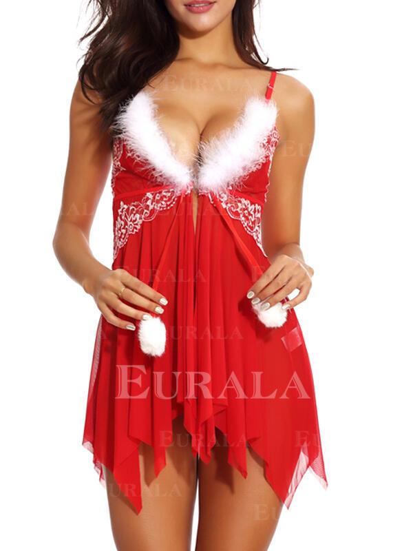 Polyester Deep V Halter Christmas Babydoll